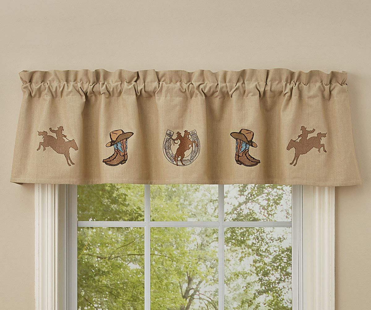 Cowboy Time Embroidered Lined Valance