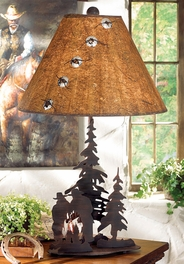 Cowboys at Campfire Lamp