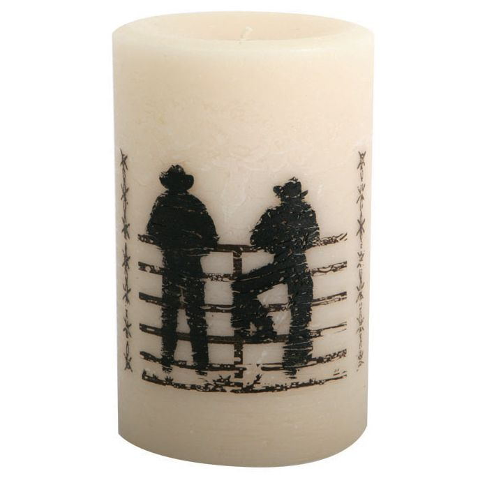 Cowboys on the Fence Pillar Candle - 4 Inch
