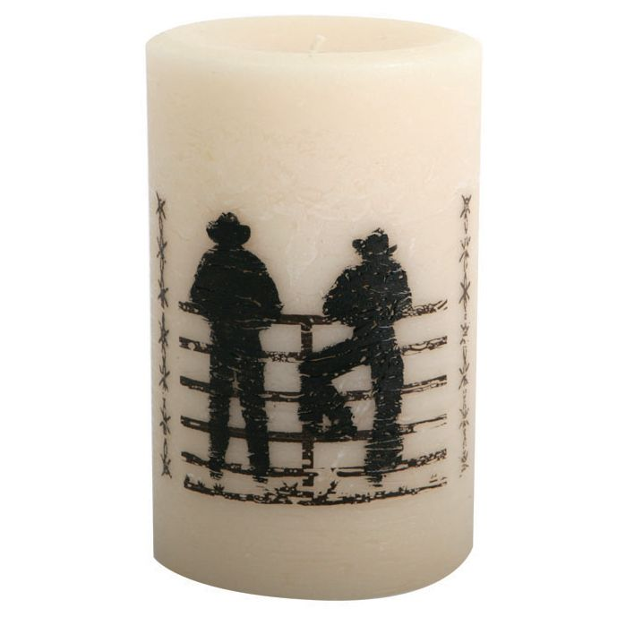 Cowboys on the Fence Pillar Candle - 6 Inch
