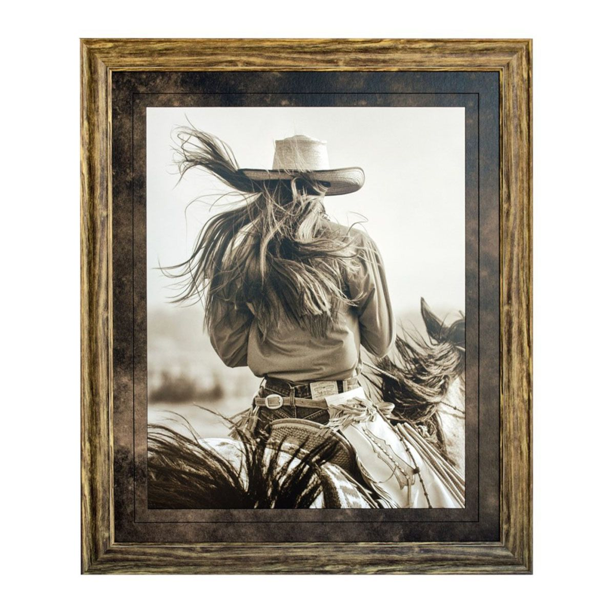 Cowgirl in the Wind Framed Print