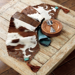 Cowhide and Turquoise Table Runner - Large