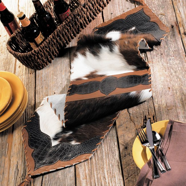 Cowhide Croc Leather Table Runner 36 Inch