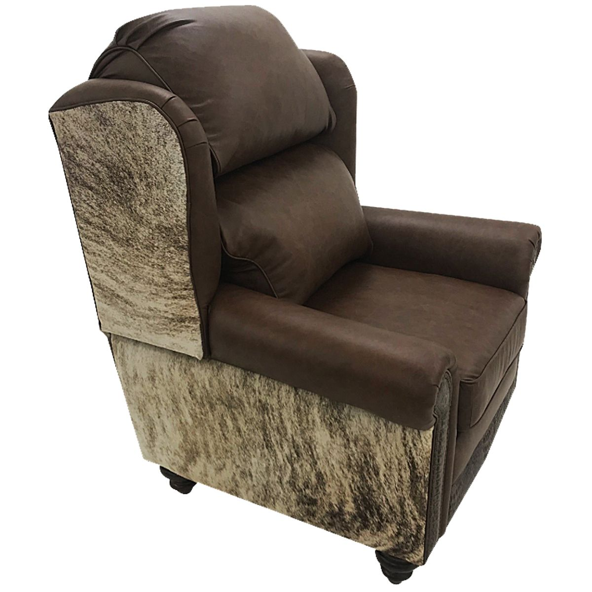 Cowhide & Crocodile Oversized Wingback Recliner