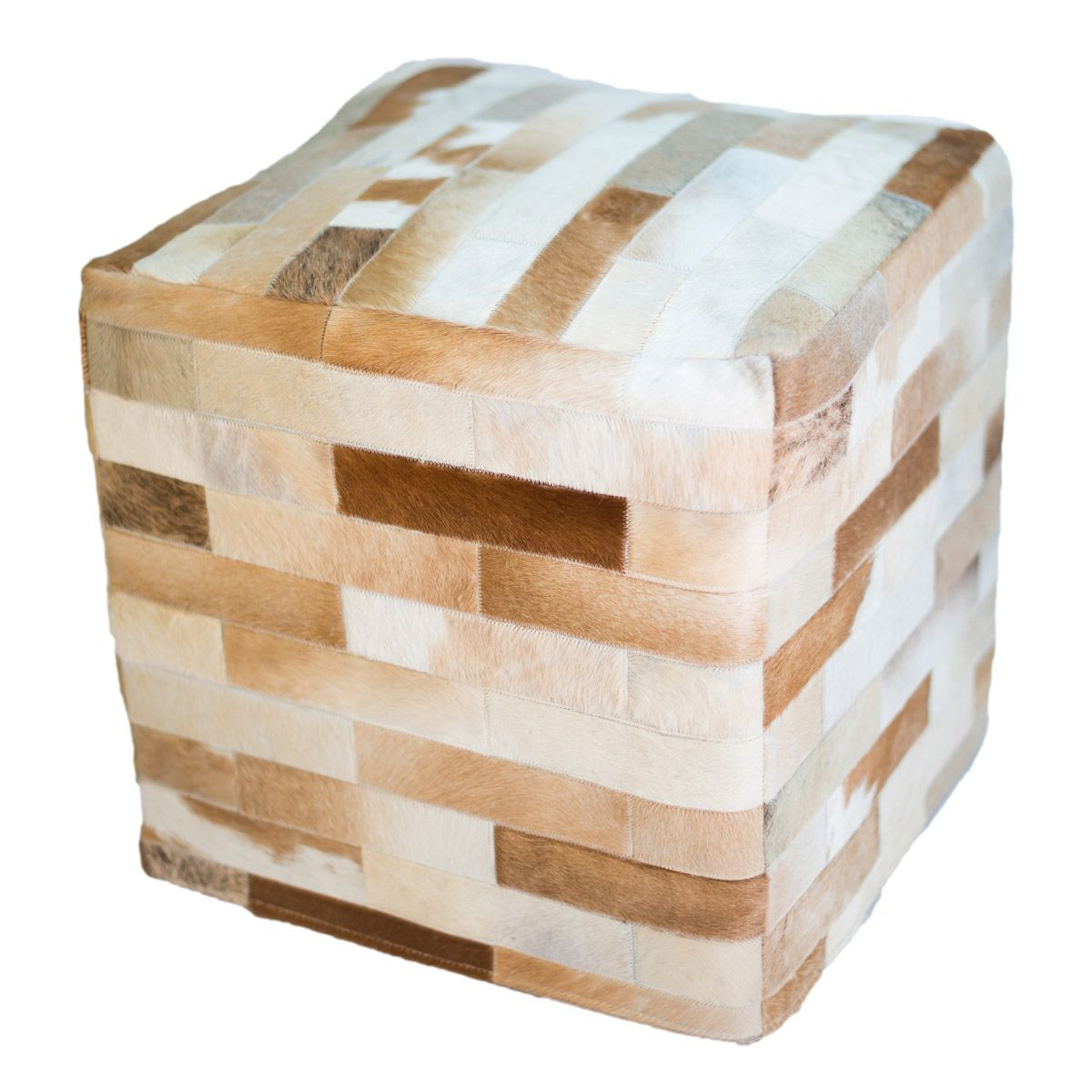 Cowhide Cube Ottoman - Light Brown