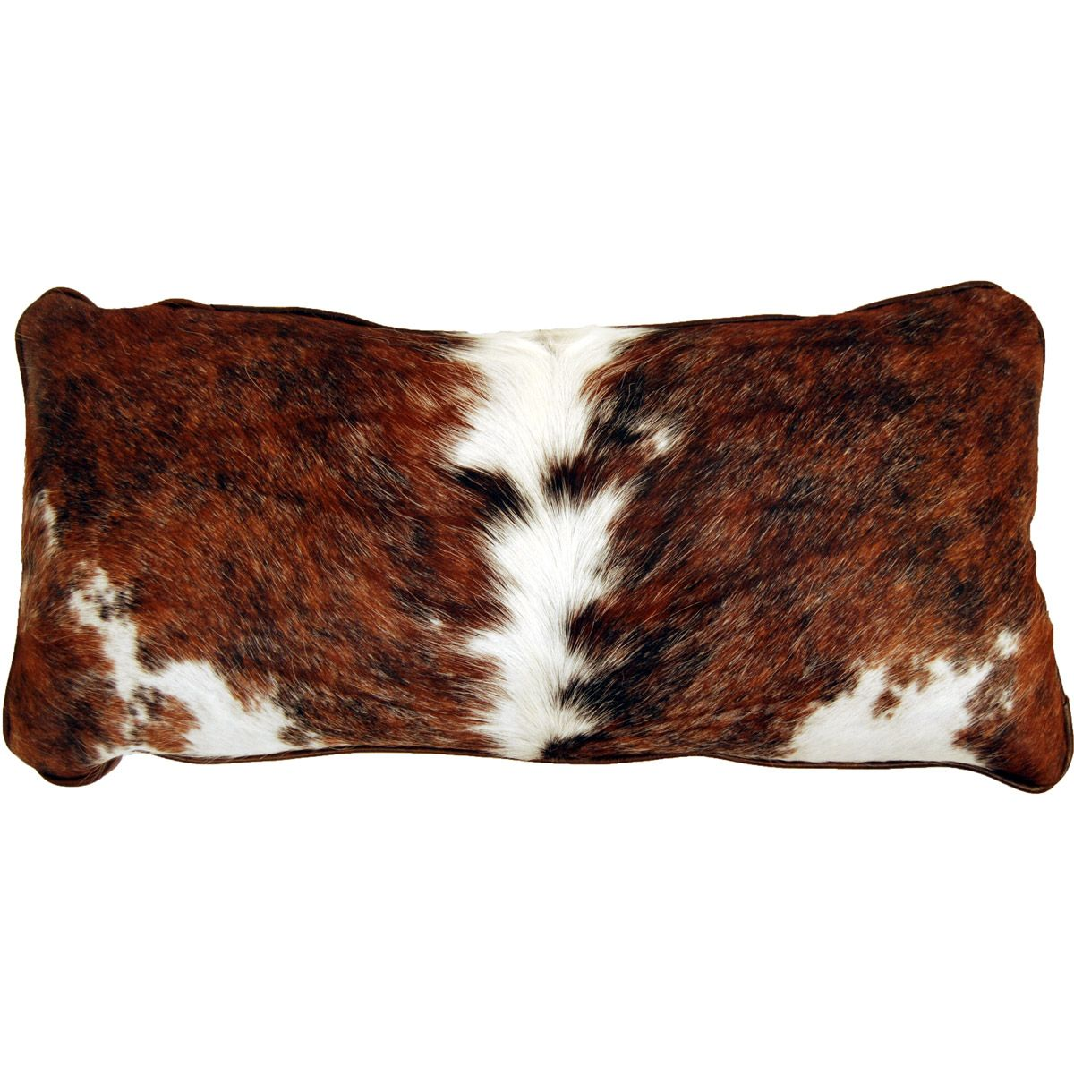 Cowhide Lumbar Pillow - Brindle with White Accents
