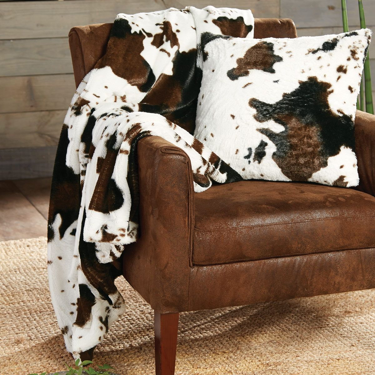 Cowhide Plush Throw