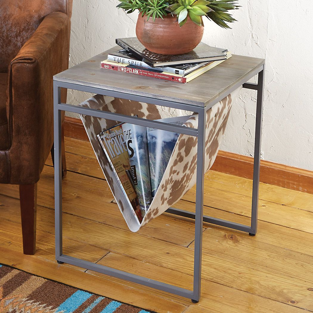 Cowhide Table & Magazine Rack