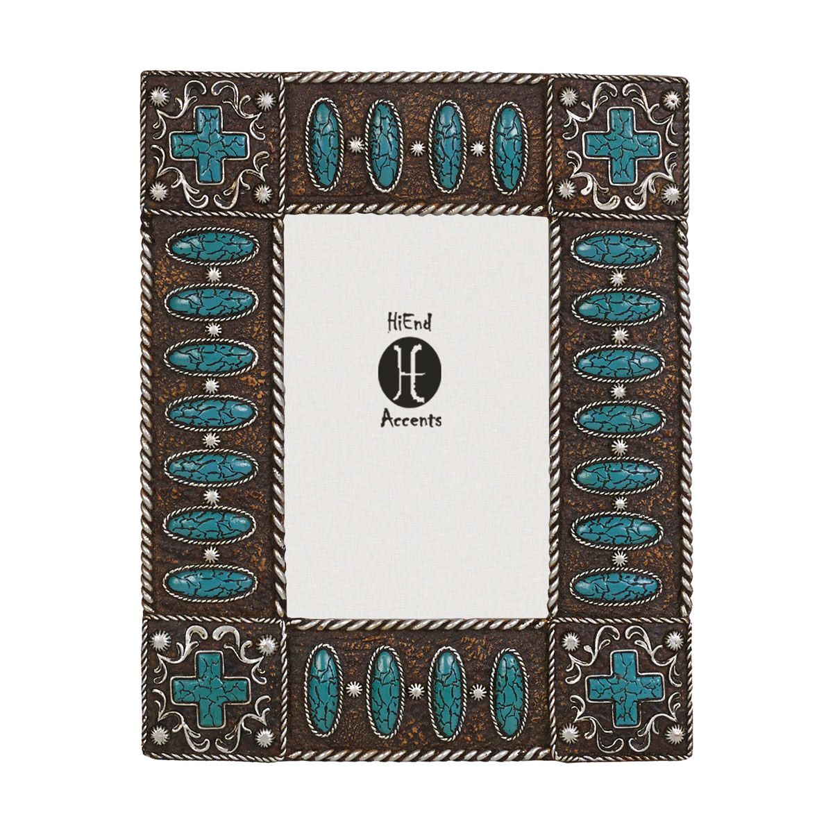 Crackled Turquoise Cross 4 x 6 Photo Frame