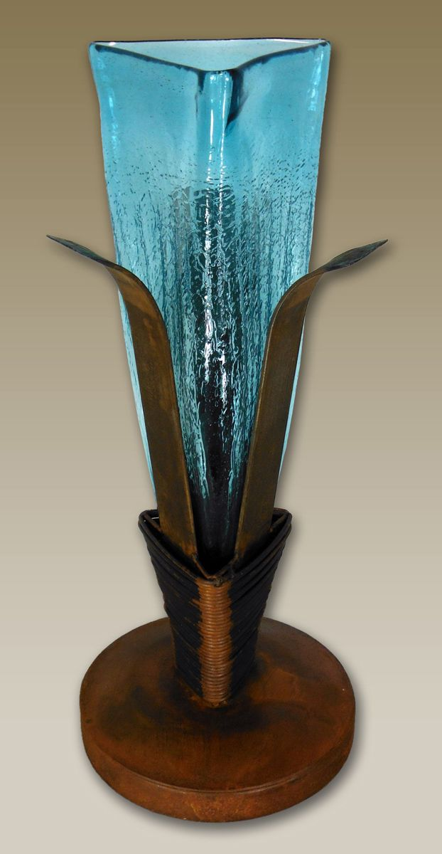Crackled Turquoise Glass Candle Holder