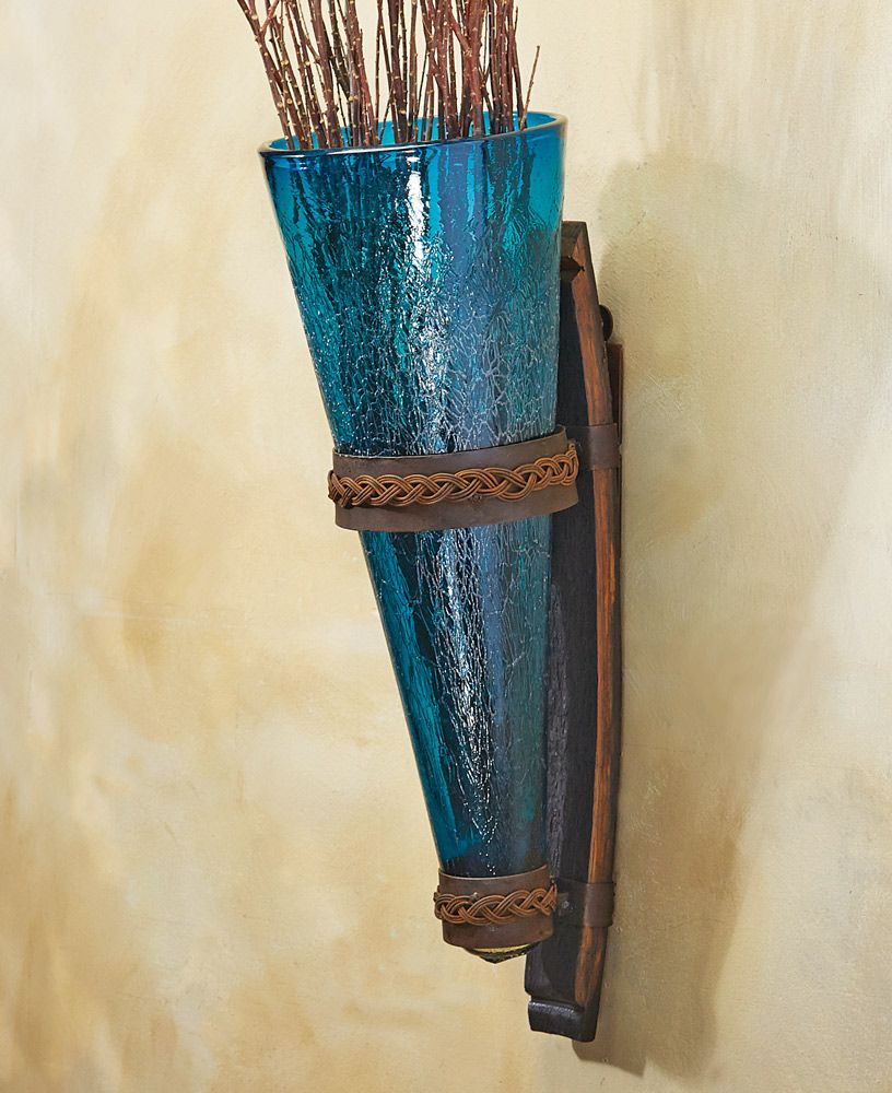 Crackled Turquoise Glass Wall Vase