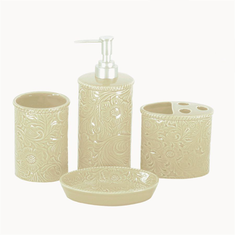 Cream Tooled Ceramic Bath Set - 4 pcs