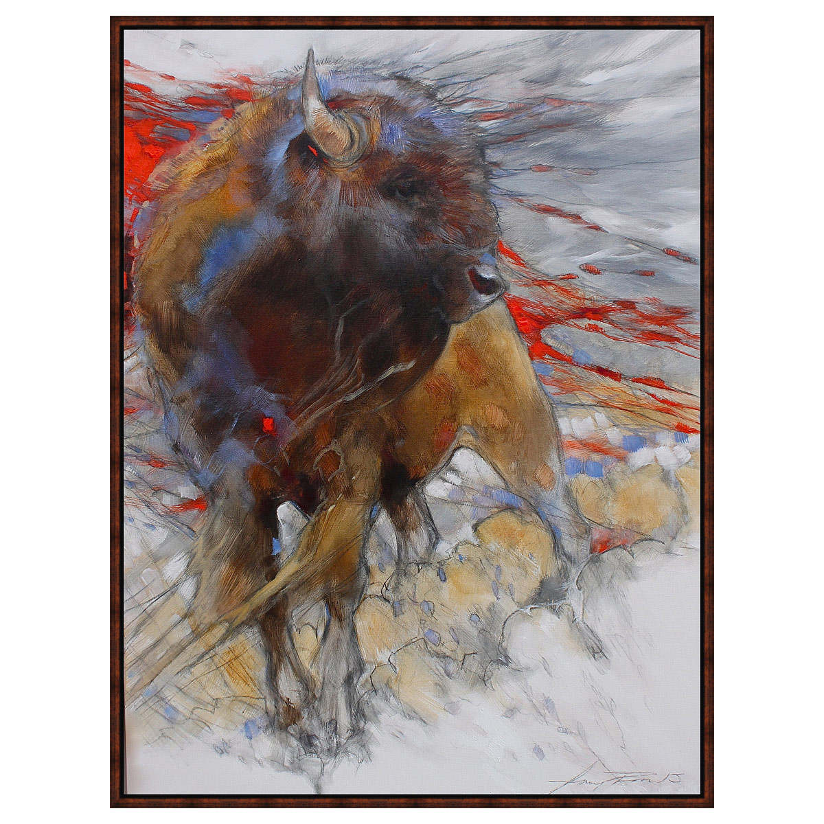 Crimson Bison Framed Canvas