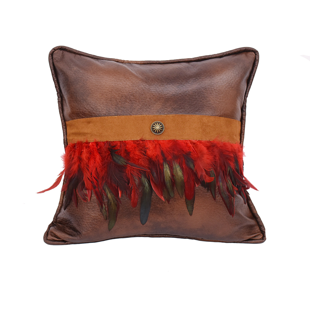 Crimson Feathers and Concho Pillow