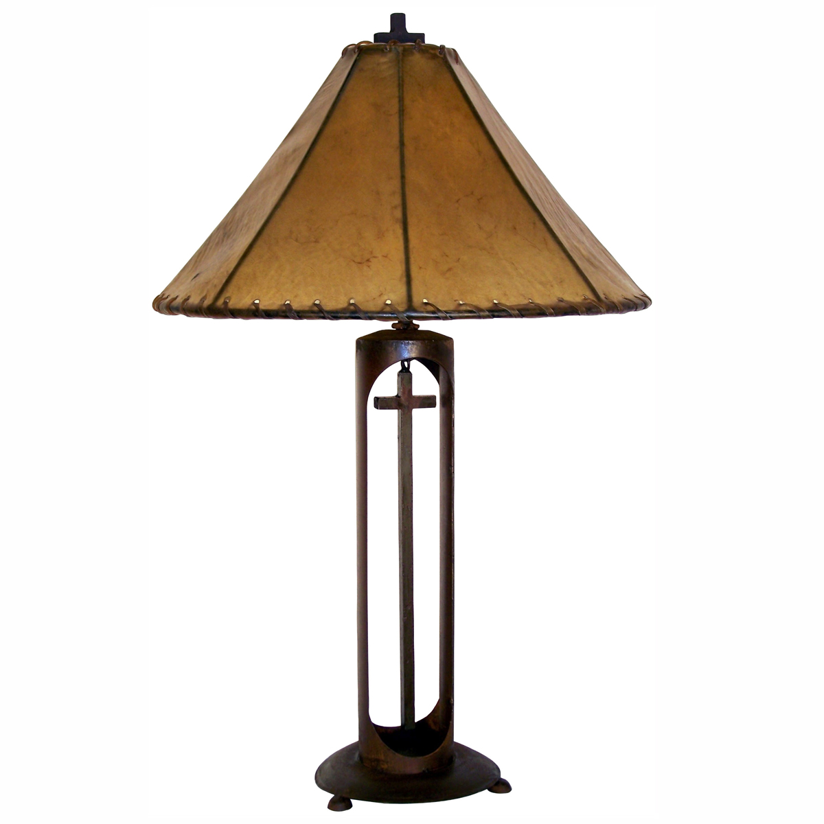 Cross Arch Lamp with 20-Inch Light Brown Rawhide Shade