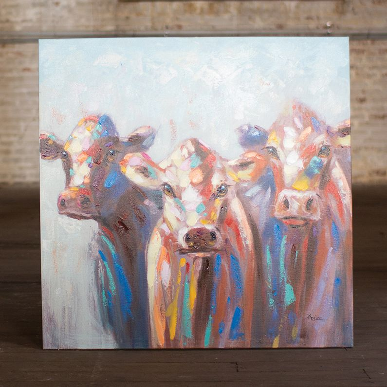 Crowded Cows Oil Painting
