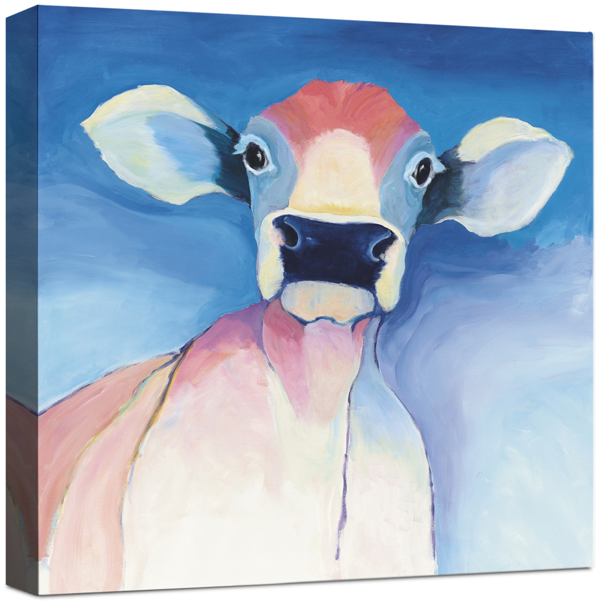 Curious Cow on Blue Canvas Wall Art