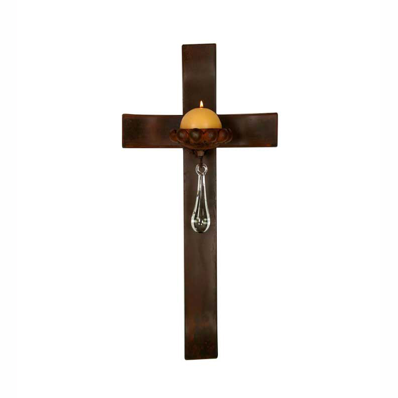 Curved Cross Candle Holder with Glass Teardrop and Candle