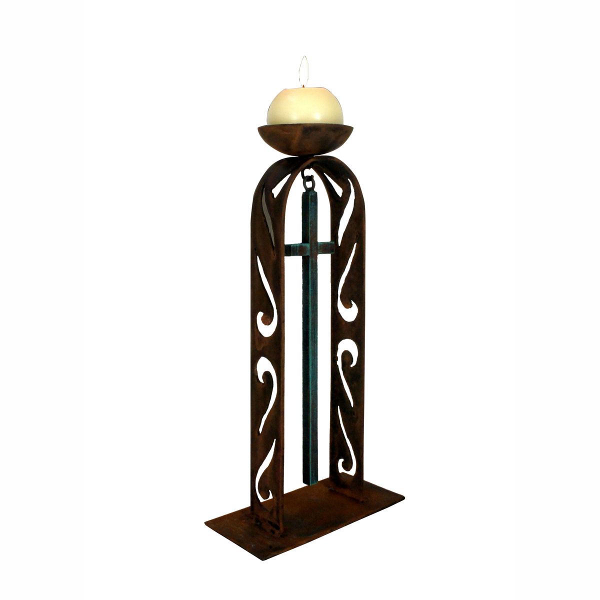 Cut Out Arch and Patina Cross Candle Holder with Round Candle