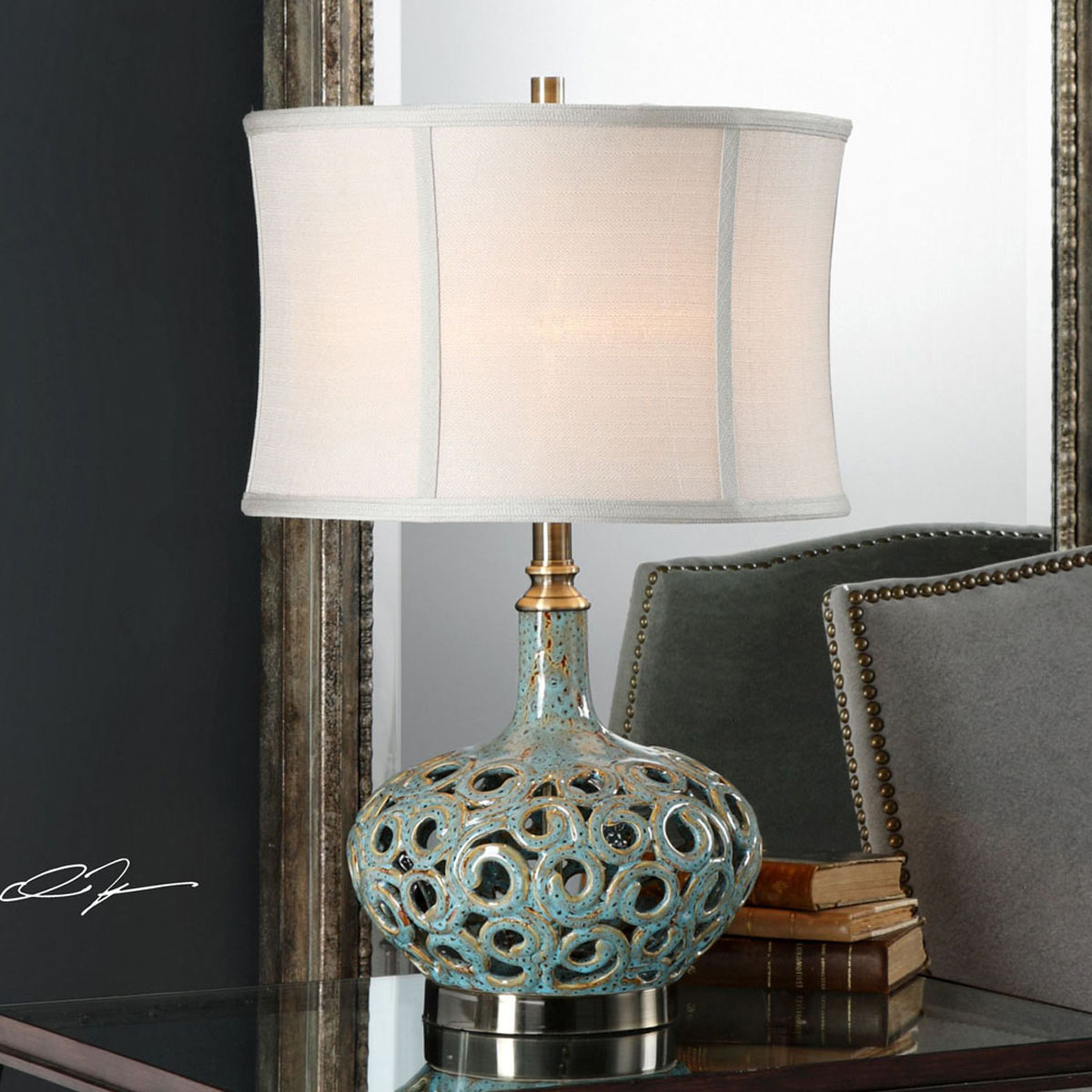 Cutout Swirls Table Lamp