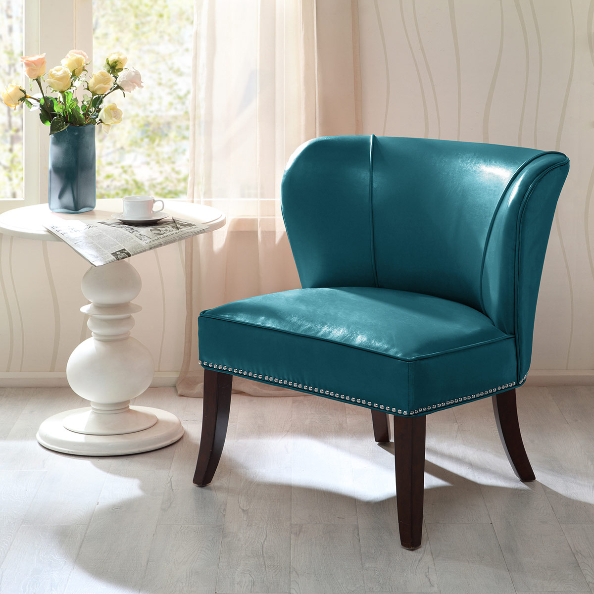 Dallas Faux Leather Accent Chair - Blue