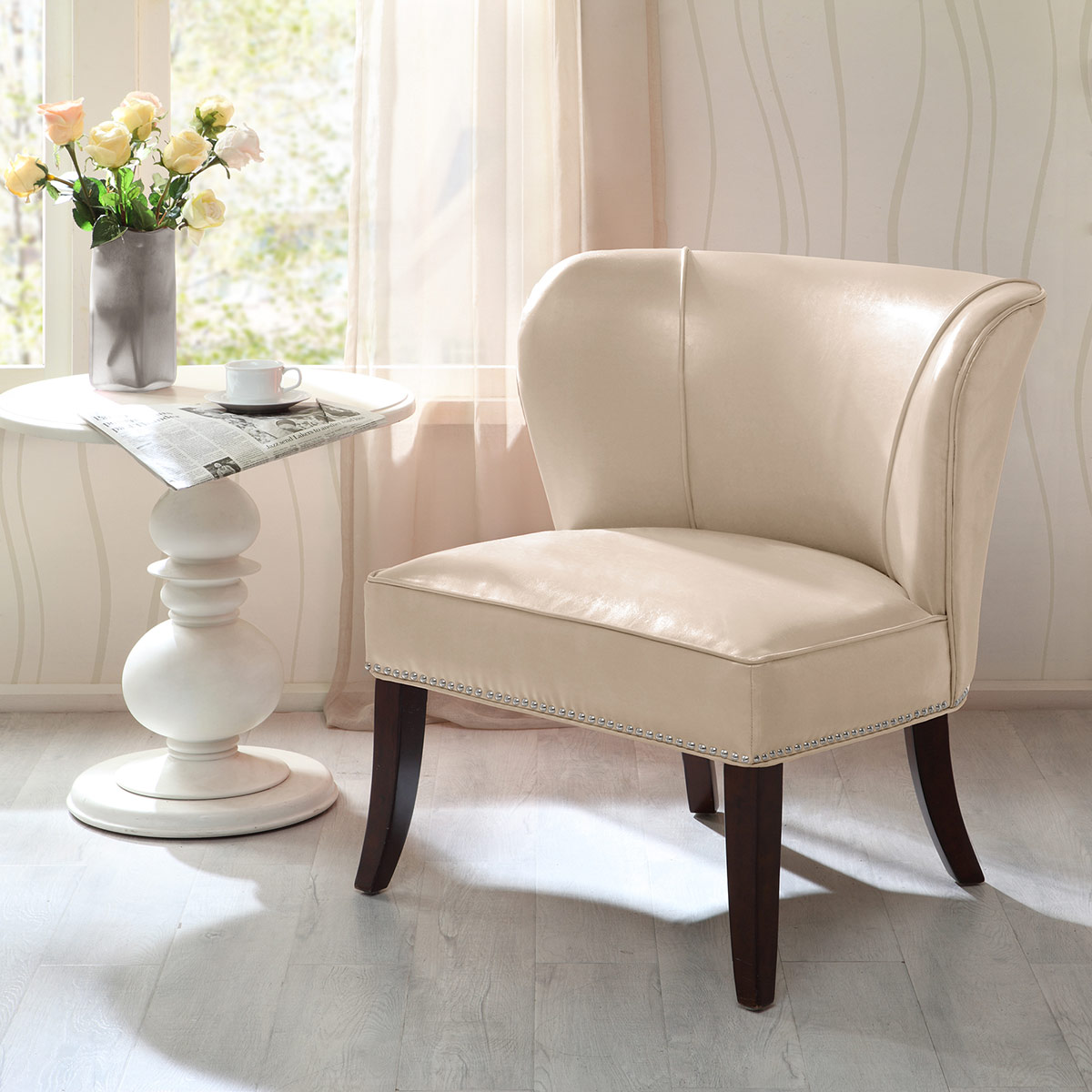 Dallas Faux Leather Accent Chair - Bone