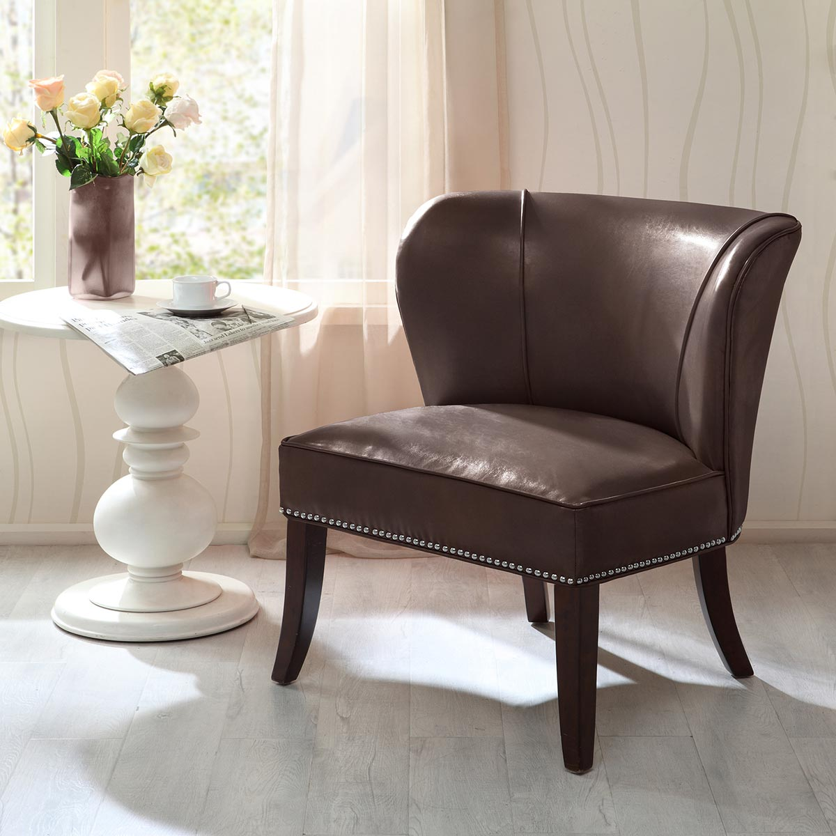 Dallas Faux Leather Accent Chair - Chocolate