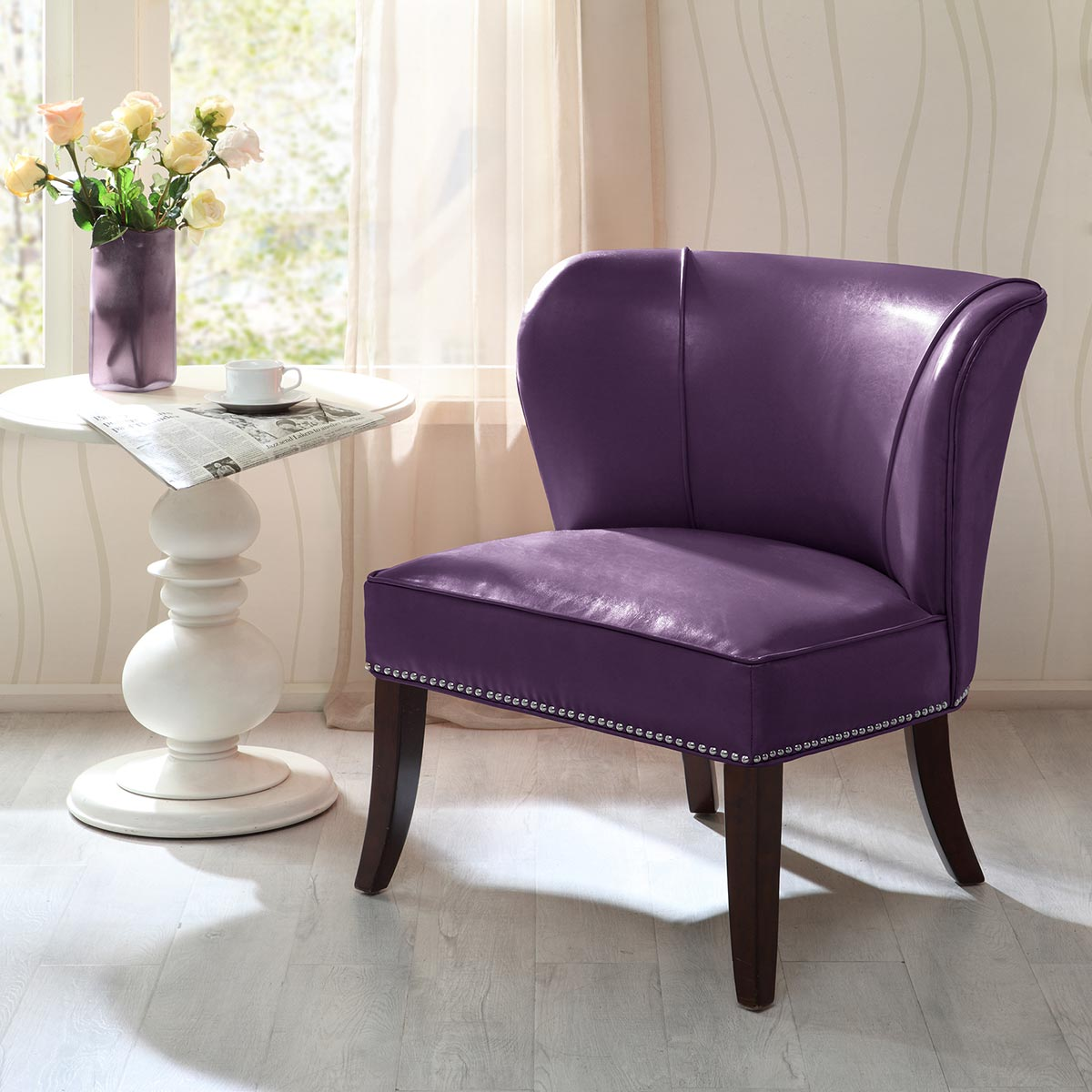Dallas Faux Leather Accent Chair - Purple