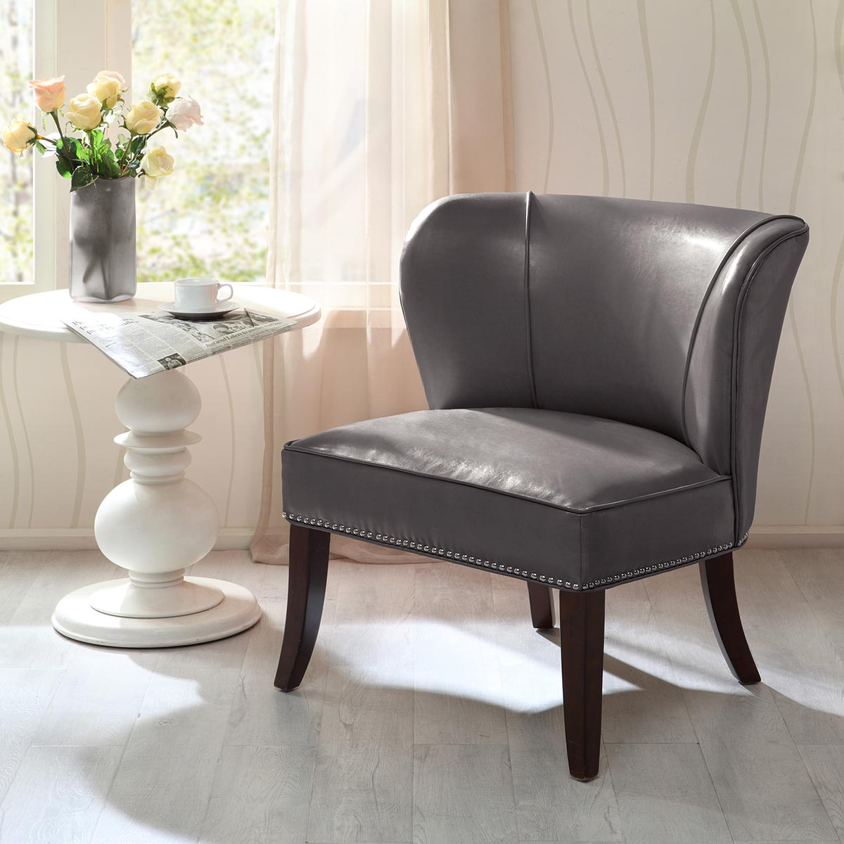 Dallas Faux Leather Accent Chair - Smoke