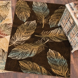 Dancing Feather Brown Rug Collection