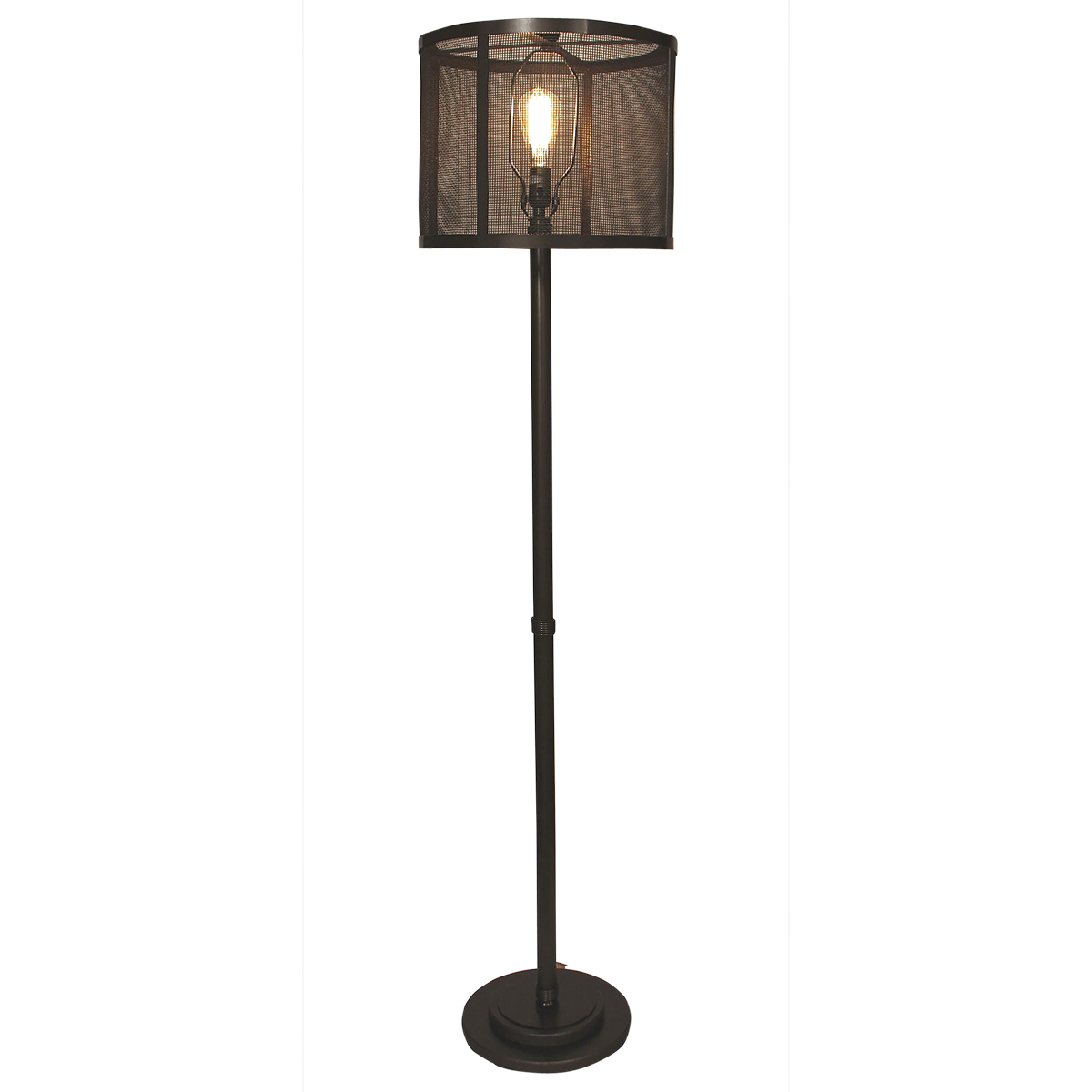 Dark Bronze Wire Wrapped Floor Lamp with Metal Mesh Shade