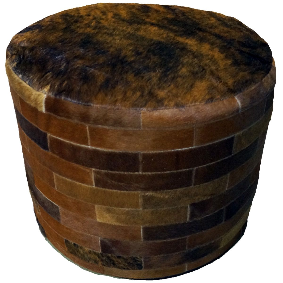 Prime Dark Brown Round Cowhide Ottoman 24 Inch Machost Co Dining Chair Design Ideas Machostcouk