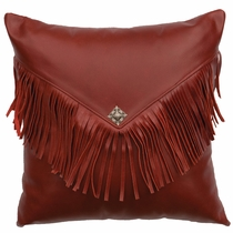 Dark Red Leather Fringed Concho Pillow with Fabric Back