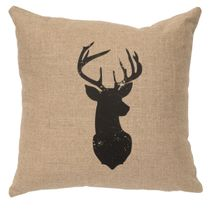 Deer Head Silhouette Linen Pillow - Natural