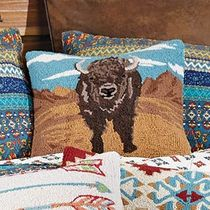 Desert Buffalo Hooked Pillow