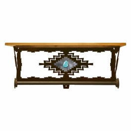 Desert Diamond Bath Wall Shelf with Turquoise - 20 Inch