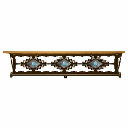 Desert Diamond Bath Wall Shelf with Turquoise - 34 Inch
