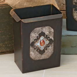 Southwest Diamond Waste Basket with Red Jasper Stone
