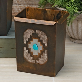 Southwest Diamond Waste Basket with Turquoise Stone