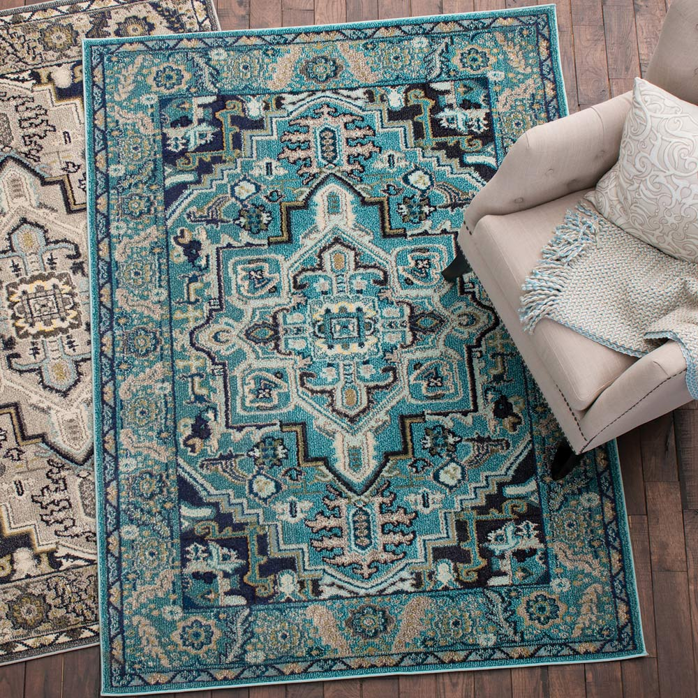 Desert Floral Turquoise Rug - 2 x 7