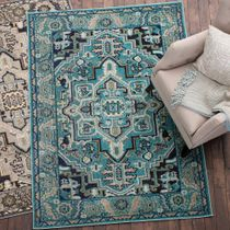 Desert Floral Turquoise Rug - 5 x 7