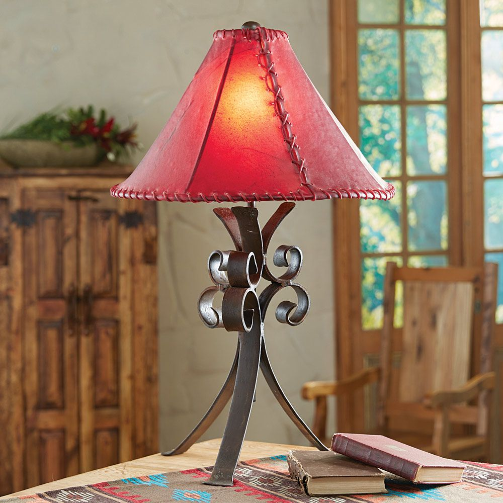 Desert Flower Iron Table Lamp with Rawhide Shade