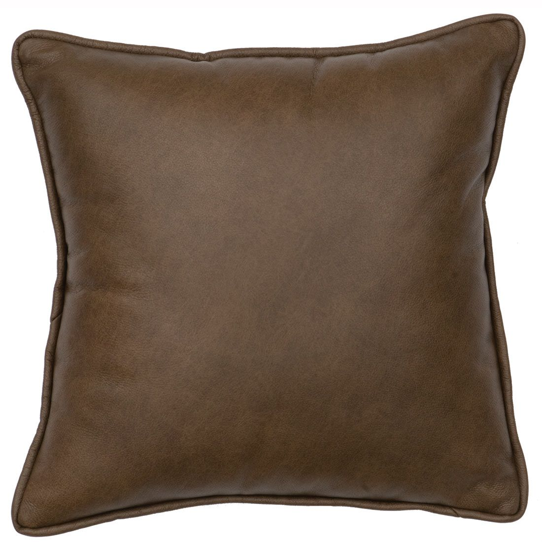 Desert Flower Leather Accent Pillow with Fabric Back