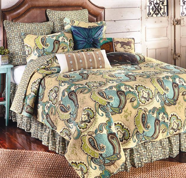 Western Bedding Full Queen Size Desert Paisley Quilt Lone