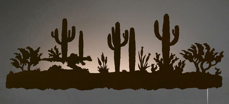 Desert Scene Back Lit Wall Art - Rust