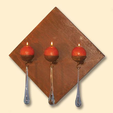 Diamond Antorcha Wall Candle Holder with 3 Tear Drops