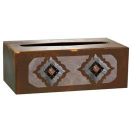 Diamond Copper Concho Rectangle Tissue Box Cover