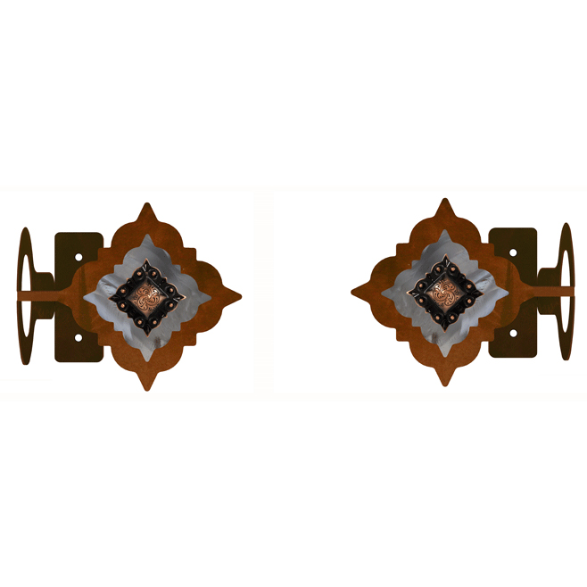 Diamond Copper Concho Rod Brackets - Set of 2