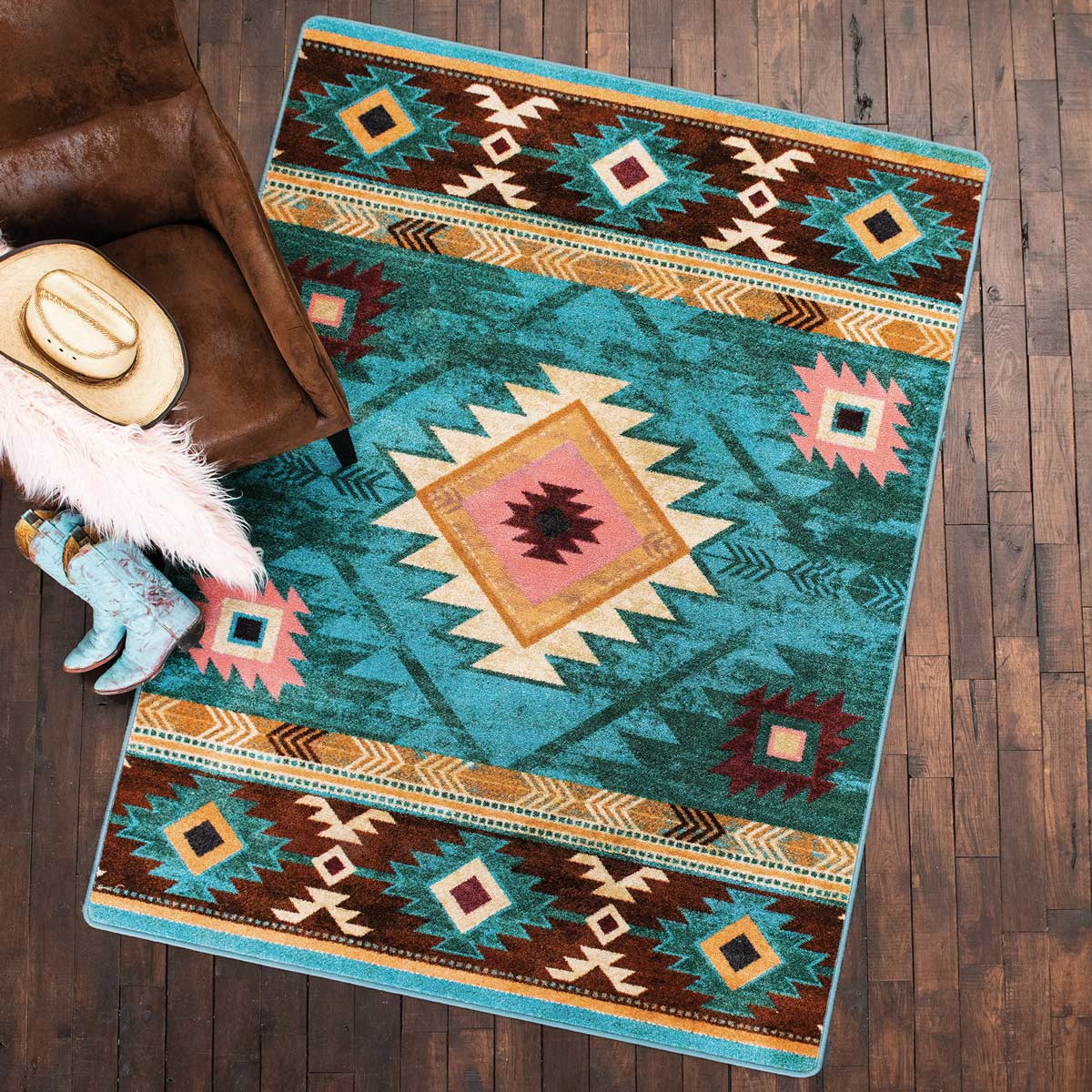 Diamond Creek Turquoise Rug - 4 x 5