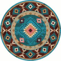 Diamond Creek Turquoise Rug - 8 Ft. Round